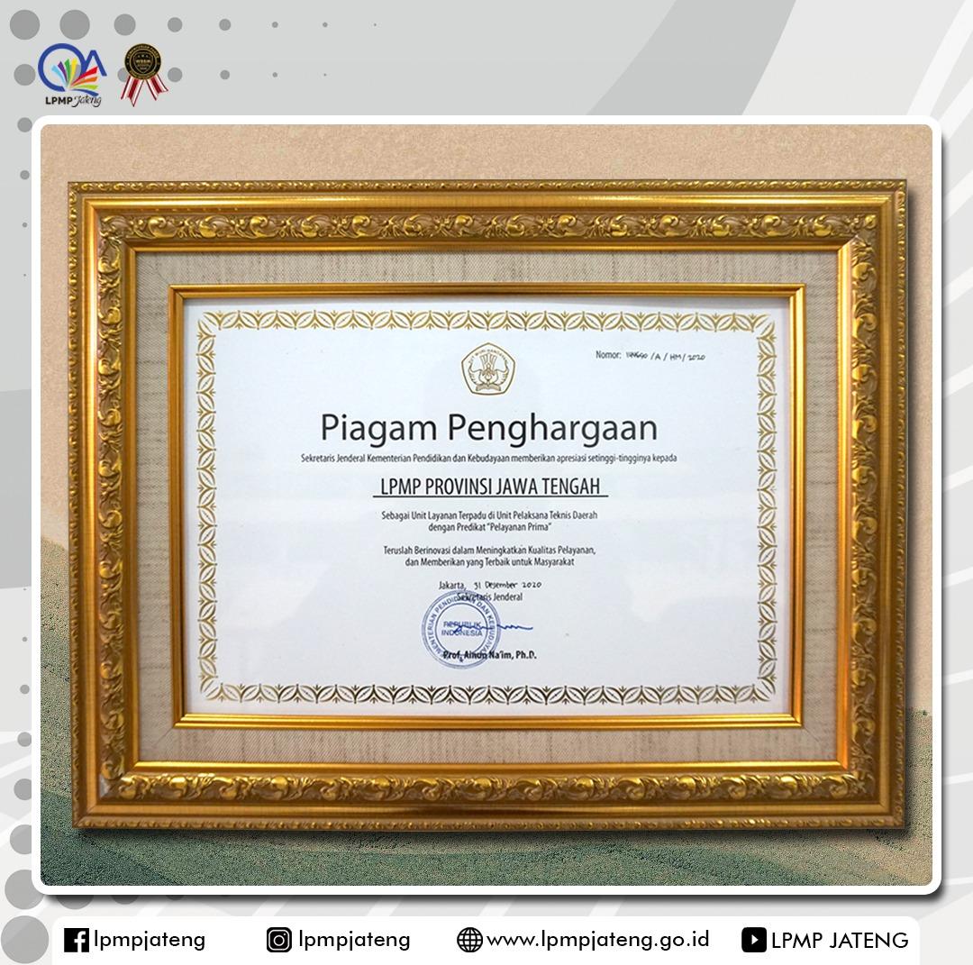 ULT LPMP Provinsi Jawa Tengah Raih Predikat Pelayanan Prima